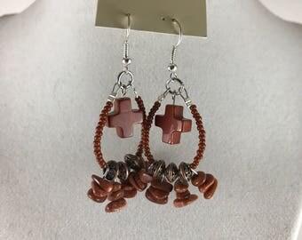 Goldstone & Copper Hoop Earrings