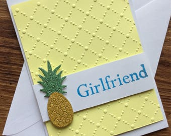 Sparkling Pineapple Textured 'Girlfriend' card
