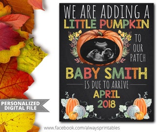Fall Pregnancy Announcement, Fall Baby Announcement, Digital Chalkboard Sign, Baby Reveal, Photo Prop, Digital Chalk Board, Digital File