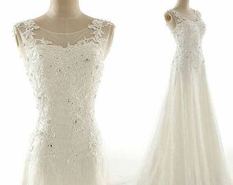 Retro feel laces full length tulle wedding dress custom_ any colors