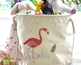 Personalised Pink Flamingo Toy Bag - Laundry Bag - Cream Canvas Material