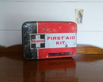 Bradex 1950s first aid kit. Vintage first aid kit. Collectible first aid kit.