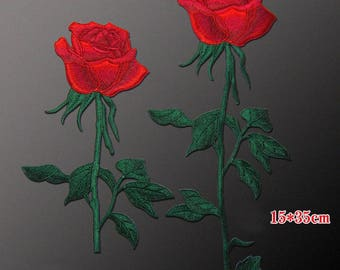 Red Rose Patches, Sew On Flower Appliques