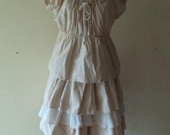 Lubilines skirt 4 ruffles very loose-fitting old pink and white cotton and lace shabby you