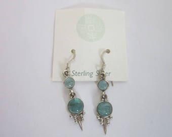 Vintage Sterling Silver & Apatite Stone Dangle Pierced Earrings Never Used