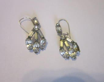 Vintage Art Deco Style Rhinestone Dangle Pierced Earrings