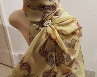 Ladies Glamour Swarovski adorned scarf & Scarf Clip - Gift  Boxed - Soft Sage Paisley