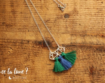 """SILVER 925 - collar / Necklace """"Geometric & tassels"""" green and blue"""