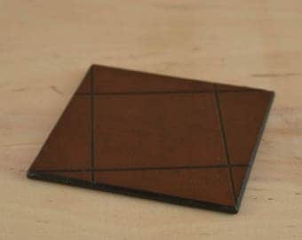 Geometric leather coaster Engraved Coasters Personalized Engraved Gift Square Coaster Coffee coaster