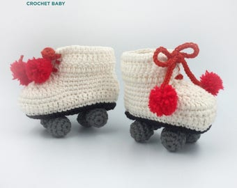 Crochet Baby Shoes, Handmade Baby Shoes for Summer, Rollerblade Baby Shoes.