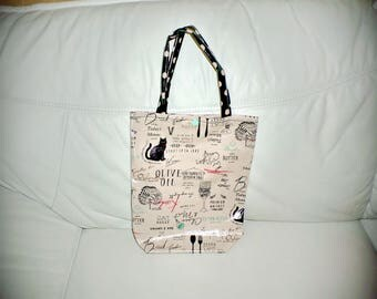 Bag oilcloth cats & olive