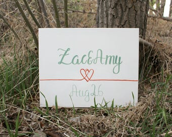 CUSTOM Wedding Name and Save the Date Sign/Personalized Name Plaque/Custom House Sign/Wedding Canvas/Engagement Party Decor/Heart Wall Art