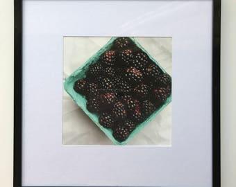 FOOD PHOTOGRAPHY PRINT - farmers market produce art - kitchen art - fine art print - blackberries fine art print