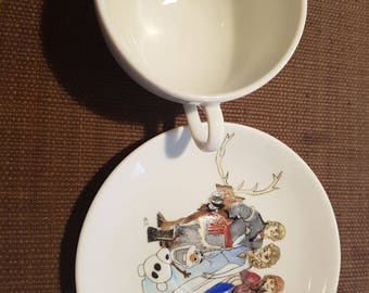 Bowl and saucer snow Queen porcelain hand painted