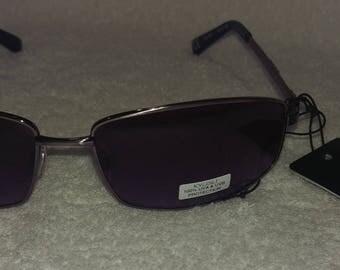 New Retro Vintage KYUSU Sunglasses Gunmetal Frames Rectangle Lenses New Old Stock 100% UVA UVB Protection