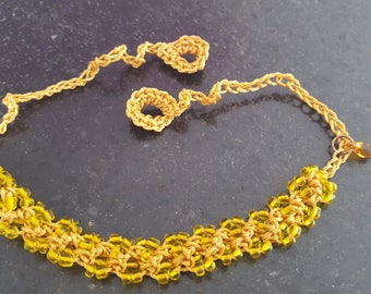 Crocheted bracelet with seed beads