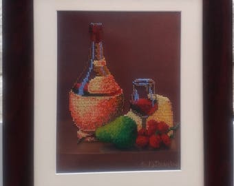 Still-life embroidered with beads.