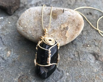 Black Obsidian Wire Wrap Necklace