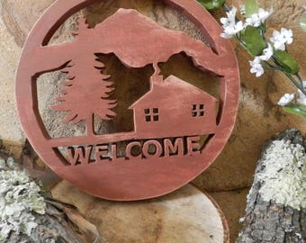 Rustic Cabin Welcome Sign