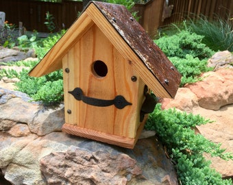 "Rustic Birdhouse ""Woodley"" Decorative wood, Metal Roof, Wooden Birdhouse, Outdoor Birdhouse, Backyard Decor, Garden Decor, Fathers Day Gift"