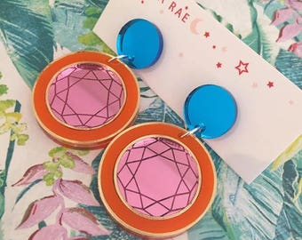 You are a Gem Dangle Earrings - Round Pink/Orange/Blue