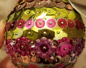 Precious in Pink Sequin Ornament with Silver Hanger