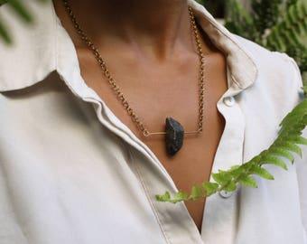 G R A P H I T E   Handmade Brass Bar Necklace with Hematite Stone