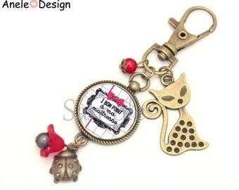 Keychain bag charm gift for the teacher - 1 good item for my master school red white black Ladybug cat