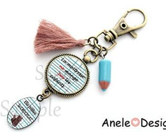 Key chain gift for the teacher - teacher do not eat children... She would prefer chocolate! blue pencil