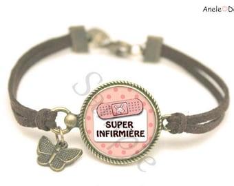 Super nurse pink brown white polka dot dressing bracelet pearls medical syringe romantic idea