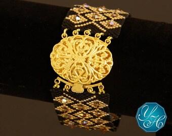 Elegant Night - Handmade Miyuki and Swarovski Crystals Beaded Bracelet