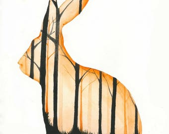 Rabbit of the forrest - an original gouache painting print