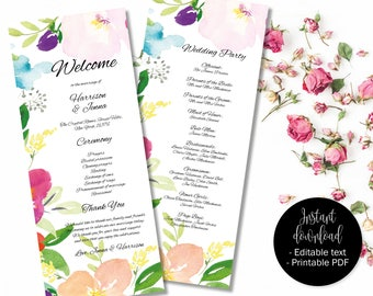 Wedding Day Program Template, Printable Wedding Program, Wedding Order of Service Text Editable PDF, Watercolor Floral Border 1 PROG-1