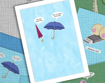 Funny cartoon umbrellas greetings card