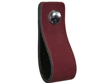 Leather furniture handle,color:purple,kitchen pulls,leather loops,dresser,cabinet,garden items,babyroom pulls,beautifully finished