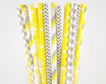 Yellow And Grey Paper Straws Mix - Party Decor Supply - Cake Pop Sticks - Party Favor