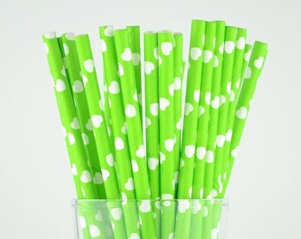 Green Hearts Paper Straws - Party Decor Supply - Cake Pop Sticks - Party Favor