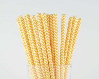Light Orange Chevron Paper Straws - Mason Jar Straws - Party Decor Supply - Cake Pop Sticks - Party Favor