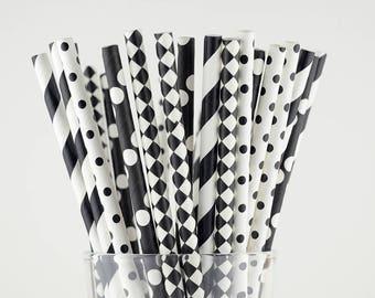 Black/White Paper Straw Mix - Diamond/ Polka Dots/ Striped - Party Decor Supply - Cake Pop Sticks - Party Favor