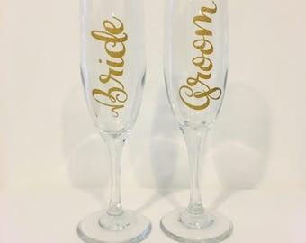 Wedding Glasses | Bride and Groom Glasses | Champagne Glasses
