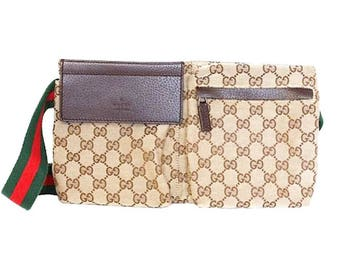 Authentic Gucci Monogram GG Canvas & Leather Waist Pouch