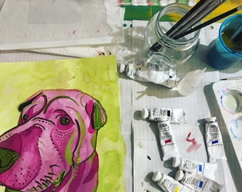 CUSTOM pet portrait / pet painting - MAGENTA/GREEN