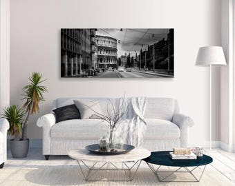 colosseum Rome Cityscape Black And White Panorama Canvas Wall Art Home Decor
