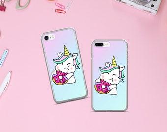 Unicorn rainbow iPhone case, iPhone 7 case, iPhone 7 plus case, iphone cover, phone case unique, donut iPhone case, gift for her