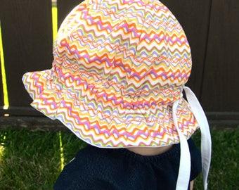 "Custom Cotton ""Grow-with-Me"" Sunhat - Adjustable Size - Flat Brim - Velcro Chin Strap"