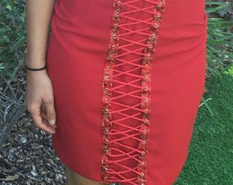 Red skirt,lined,with decorative lace up front