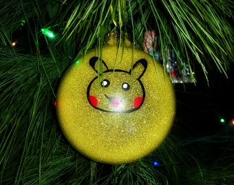 Pokemon Pikachu Christmas Ornament — Yellow Glitter Pokemon Ornament — Pokemon Go Christmas Ornament — Pikachu Christmas Ornament