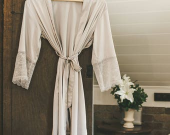 Bridesmaid Satin and Lace Bridal Robe Sultry Silver