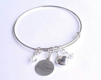Sterling silver bracelet, silver  bangle, swarovski crystals silver bangle, love bracelet, charm bangle, gift for her,