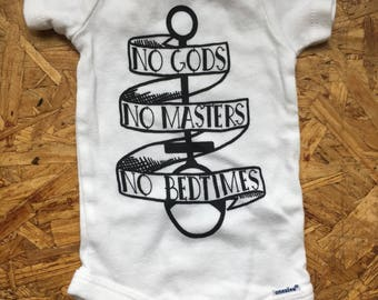 No Gods No Masters No Bedtimes Wrap Top or Onesie